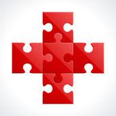 Czerwony plus z puzzle wektorowej — Wektor stockowy