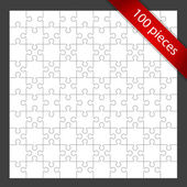 Vector 100 puzzle pieces background — Stock Vector