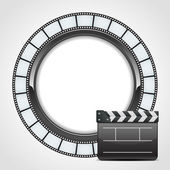 Film round tape with cinema clap vector background — Stock Vector