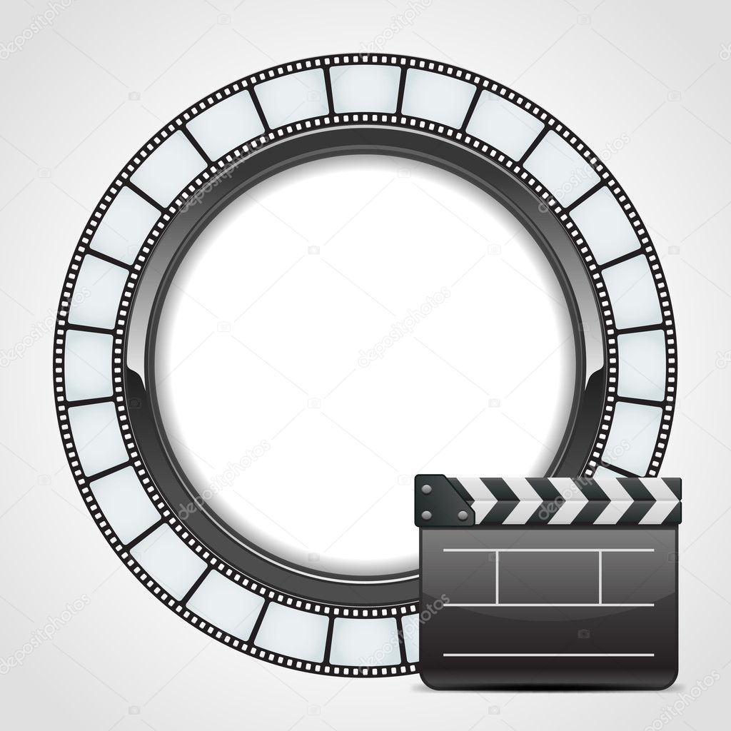 Film round tape with cinema clap vector background. Eps 10.   Stock Vector #6316458