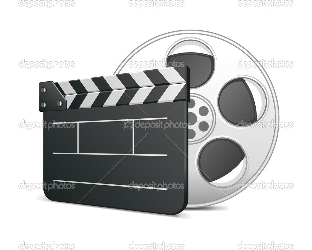 Film clap board and video film tape cinema vector illustration. Eps 10.  — Grafika wektorowa #6316501
