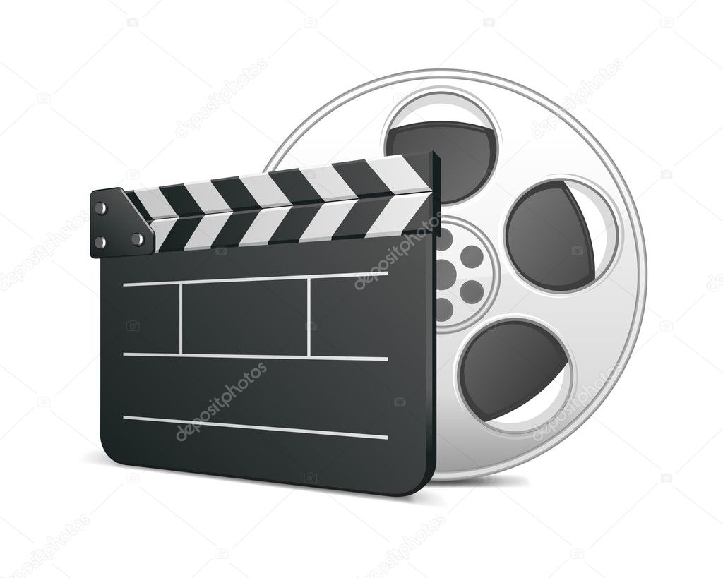 Film clap board and video film tape cinema vector illustration. Eps 10.  — Vektorgrafik #6316501