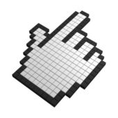 3d hand pixel icon — Stock Photo