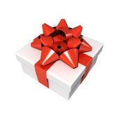 White gift with red bow — Stock Photo