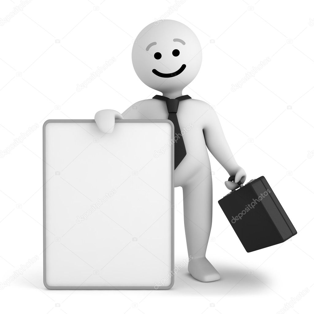Funny white smile character businessman stay with blank banner   Stock Photo #6337063