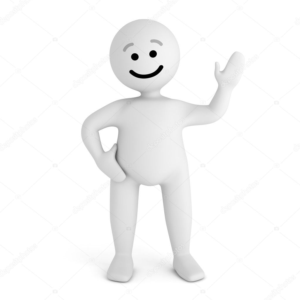 Funny white smile character sign hello  Stock Photo #6337080