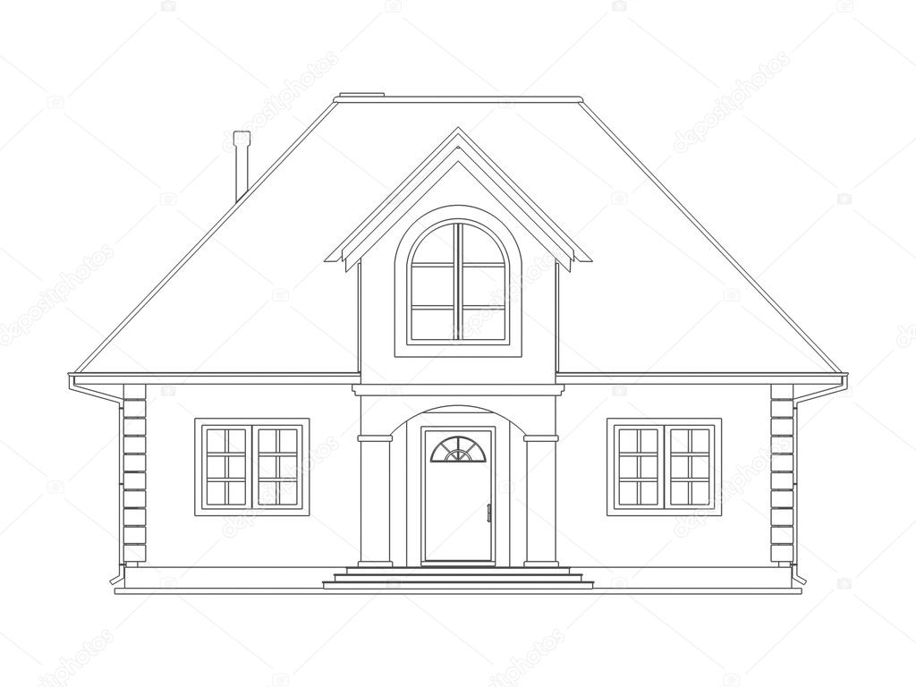 House technical draw stock photo vikasuh 6337753 Draw your house