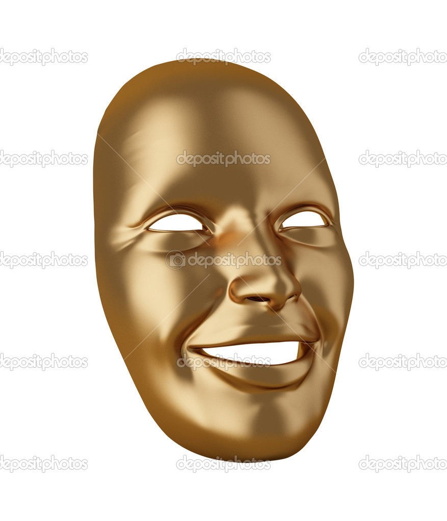 Gold mask isolated on white   Stock Photo #6338391