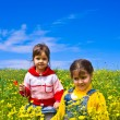 Two girls on a spring field — Stock Photo