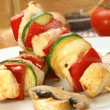 Chicken kebab on a white plate with organic pepper — Stock Photo