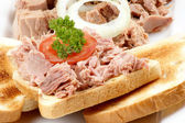 Tuna on bread with tomato, parsley and onion rings — Stock Photo