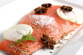 Salmon fillet on a white plate is prepared as food — Stock Photo