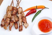 Party grilled skewers with chili on a white plate — Stock Photo