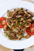 Fried mushrooms on half a bun with tomato — Stock Photo