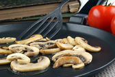 Chopped and grilled mushrooms in a pan — Stock Photo