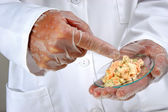 Vegetable salad is investigated in the food laboratory — Stock Photo