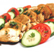 Chicken breast slices with soy sauce and vegetables — Stock Photo