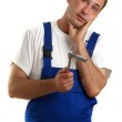 Craftsmen holding a wrench in his hand — Stock Photo