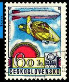 Vintage postage stamp. Graf Zeppelin. Airship LZ-127. — Stock Photo