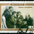 Stock Photo: Vintage postage stamp. Lenin and peasants.