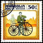 Vintage posta pulu. fransa bisiklet 1863. — Stok fotoğraf