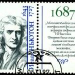 Vintage postage stamp. Isaac Newton. — Stock Photo
