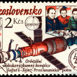 Vintage postage stamp. Salyut 6-Soyuz. — Stock Photo
