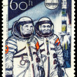 Vintage stamp. Soyuz 28. Gubarev and Remek. — Stock Photo