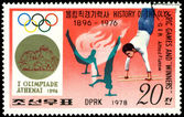 Stamp. Olympic champion Alfred Flatov. — Stock Photo