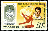 Stamp. Olympic champion Josef Stalder. — Stock Photo