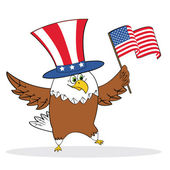 Cartoon patriotic eagle holding american flag — Stock Vector