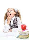 Schoolgirl yawning — Stock Photo