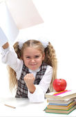 Schoolgirl shake her fist — Stock Photo