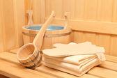 Still life of a steam bath-room accessories — Stock Photo