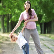 Mother and Son Walking in the Park — Stock Photo #6541771