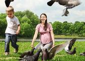 Alimentando las palomas — Foto de Stock