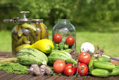 Pickled cucumbers in a glass jars — Stock Photo