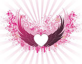 Banner with wings — Vector de stock