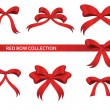 Collection of beautiful red bows — Stock Vector