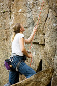 Female Belayer — Stock fotografie
