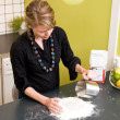 Woman Kneading Dough at Home — 图库照片