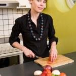 Female Cutting Tomatoes — Stock Photo