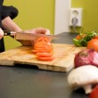 Slicing Tomatoes Detail — Stock Photo