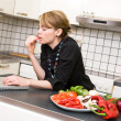 Lunch in Kitchen with Laptop — Stock Photo #5680709