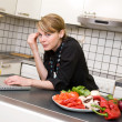 Lunch in Kitchen with Laptop — Stock Photo