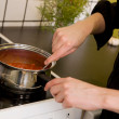 Making Pizza Sauce on Stove — Stock Photo