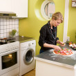 Young Female Making Pizza — Stock Photo #5680989