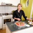 Young Female Making Pizza — Stock Photo