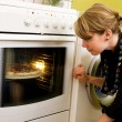 Watching Pizza Bake — Stock Photo