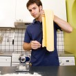 Stock Photo: Happy Male Making Pasta